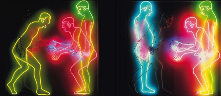 Bruce Nauman, Shaking Hands (1985), neon and glass tubing
