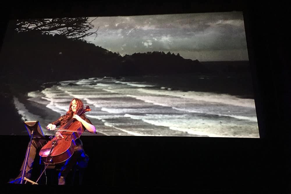 Cellist Maya Beiser performs a solo.