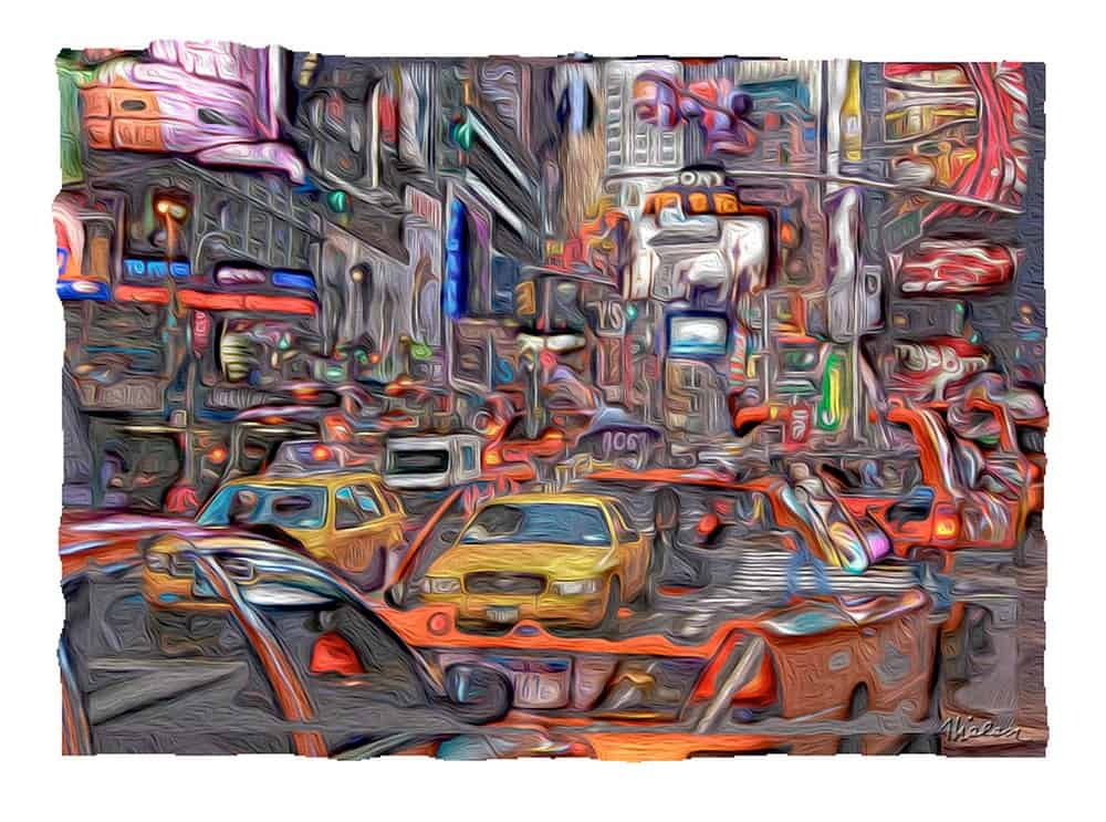 Michael Thielen, Streets of New York (2016), three photos blended  digitally, 8 by 11 inches.