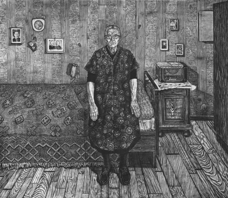 Marie Bilderl (1971) charcoal, conte crayon, 4 1/2 by 49 1/2 inches
