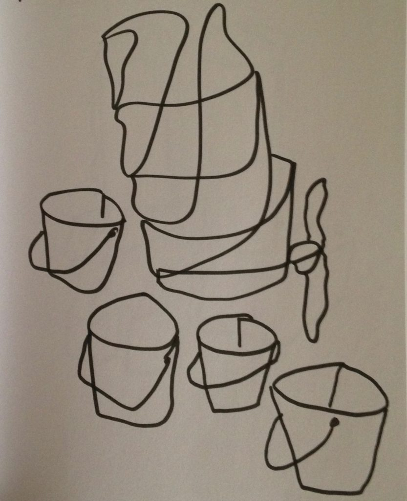 Andrew John Cecil, Buckets, page from sketchbook