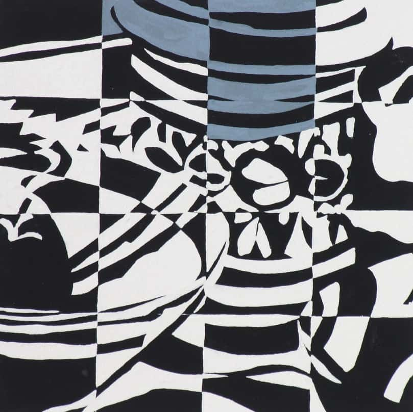 Still Life/Abstracted + Grid (2006), gouache on watercolor paper, 12 by 12 inches