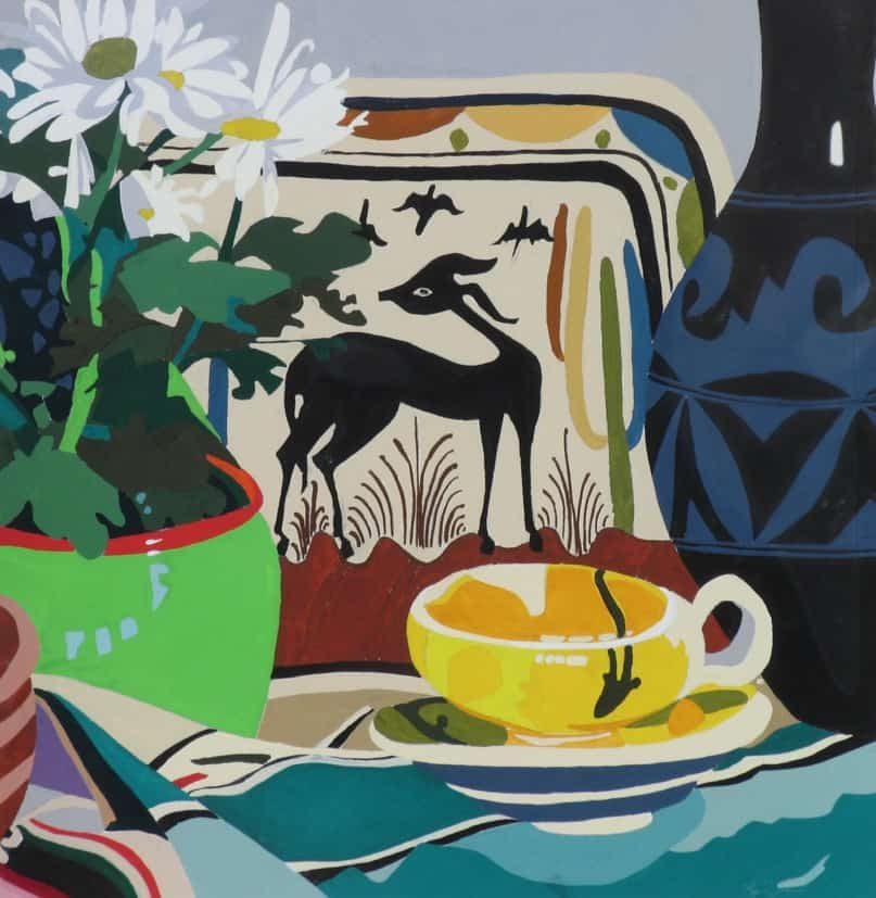 Still Life Deer & Yellow Cup (2006), gouache on watercolor paper, 16 by 16 inches