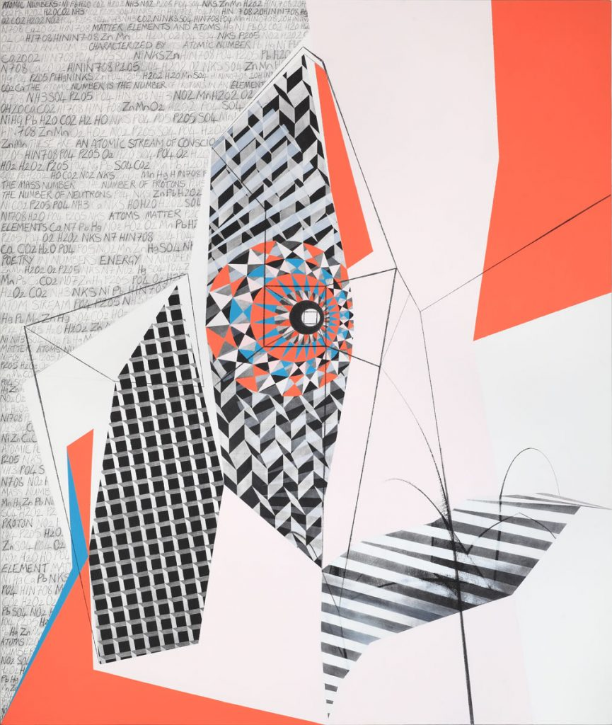 Molecular Cityscape (2016), diptych, mixed media on canvas, 72 by 60 inches