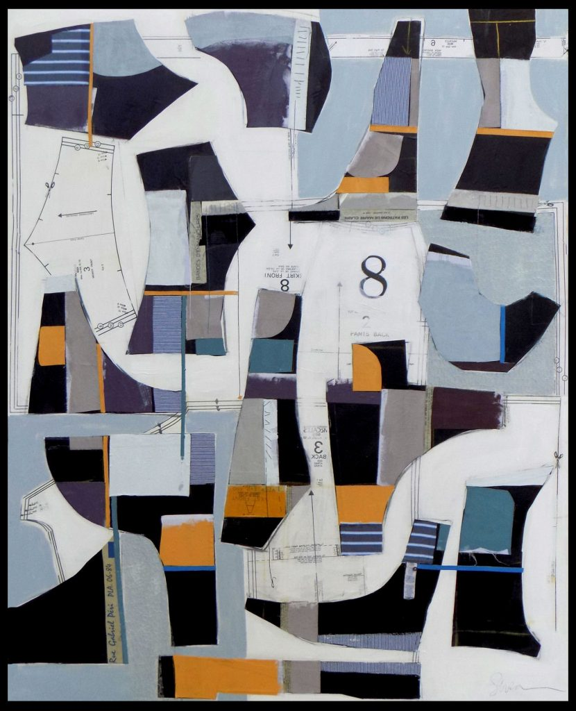 Susan Washington, Deconstructed No. 8 (2016), acrylic, vintage dress patterns, and textiles on canvas, 5 by 4 feet