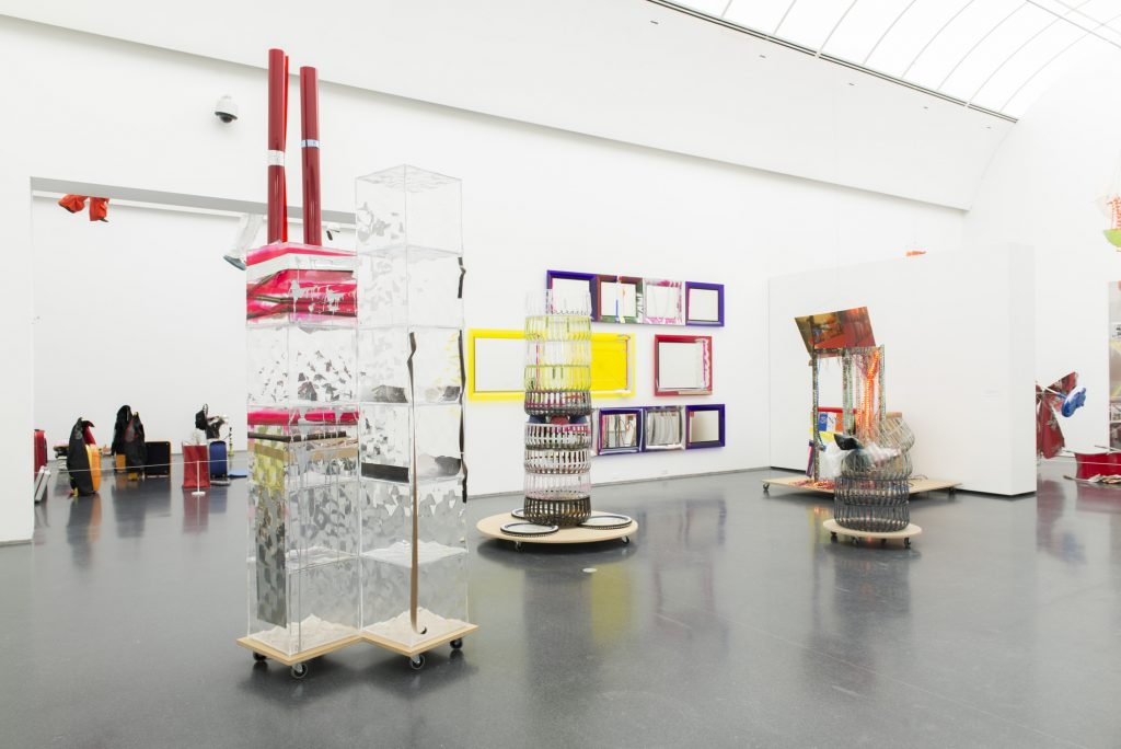 "Installation view of the 2013-2015 traveling solo exhibition ""Isa Genzken: Retrospective"" at the Museum of Contemporary Art Chicago"