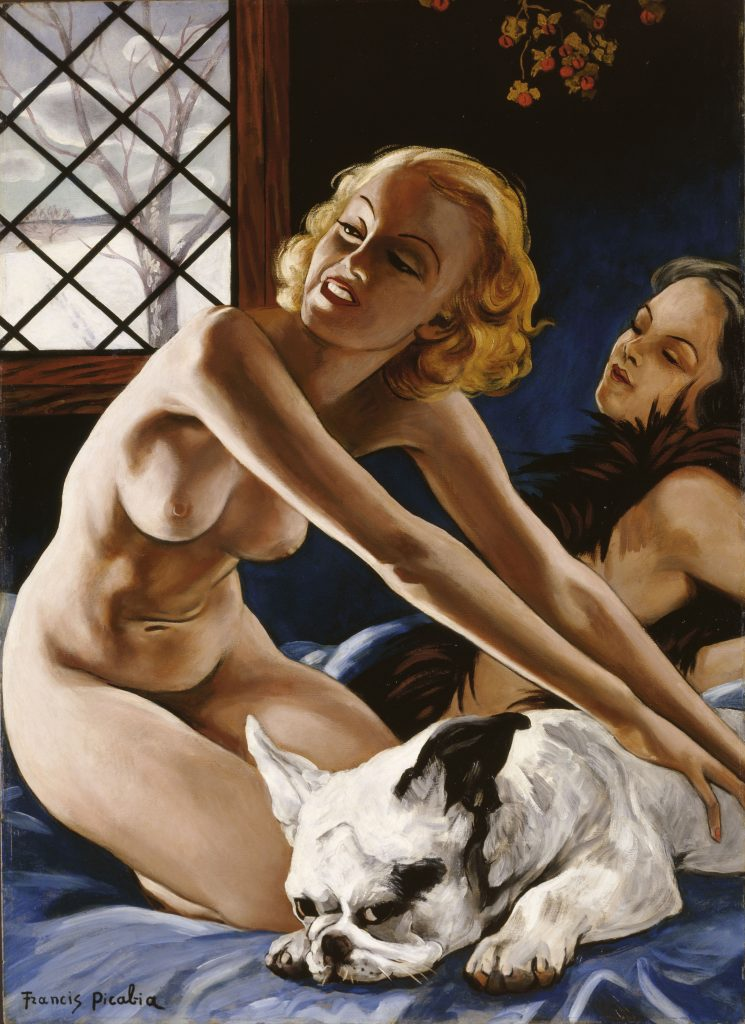 Femmes au bull-dog (Women with Bulldog). c. 1941. Oil on board, 41 3/4 x 29 15/16 inches