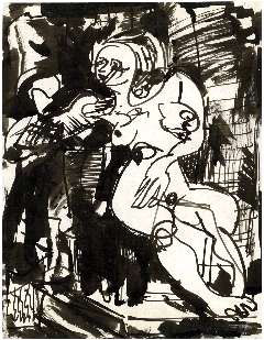 Hans Hofmann, Untitled (1935), India ink on paper, 11 by 8.5 inches.
