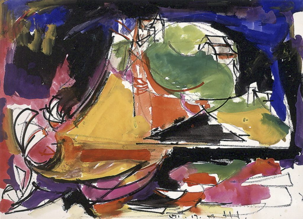 Hans Hofmann, Storm--Haus [sic] on the Hill (1943), gouache on paper, 18 by 24 inches. Private collection.