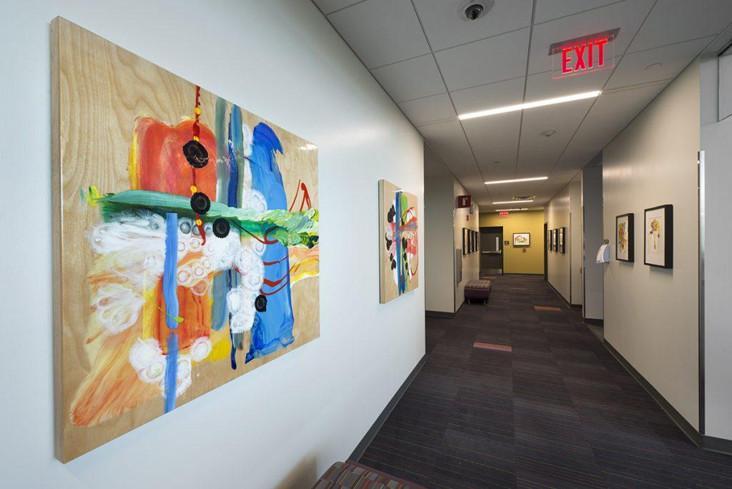 Mary Zeran artwork, KIrkwood Regional Center at the U. of Iowa, Coralville, Iowa installation 09/28/15.
