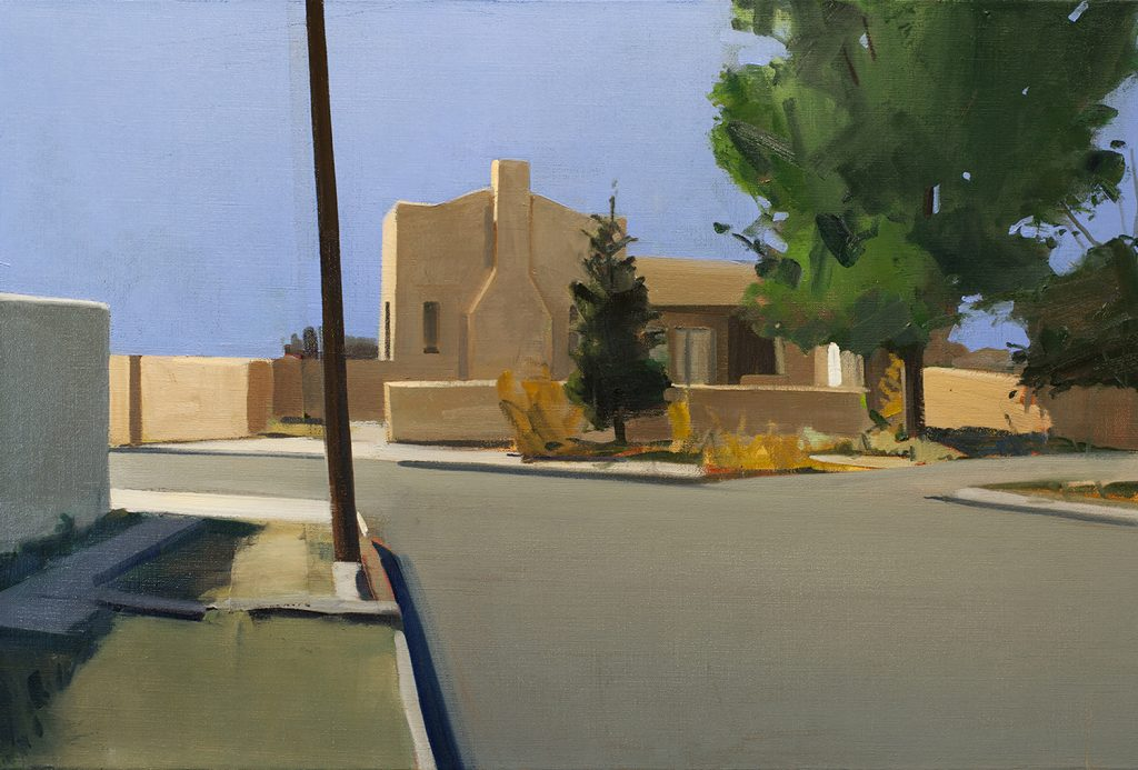 Berger Street, Santa Fe (2012), oil on linen, 24 by 36 inches