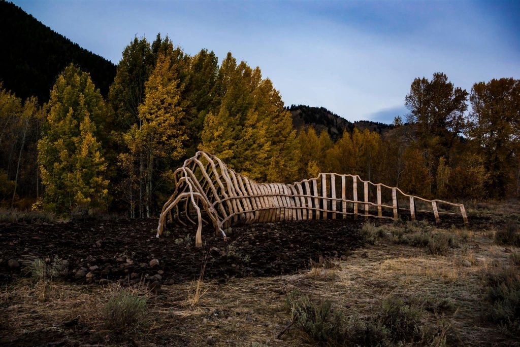 John Grade, SPUR (2016), Alaskan yellow cedar, 80 by 13 by 20 feet, Sun Valley, ID