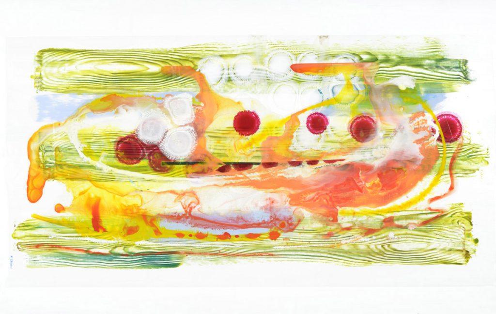 Irezumi (2015), acrylic on Dura-Lar on paper, dimensions tk