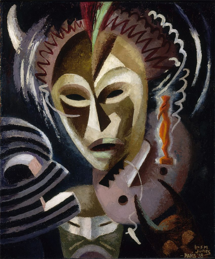 Loïs Maillou Jones: Les Fetiches (1938), oil on canvas, 25.5 by 21.25 inches