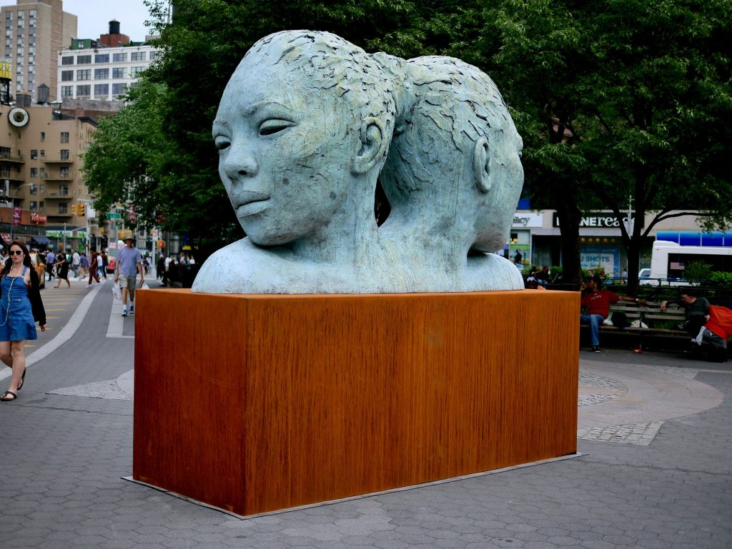 Lionel Smit, Morphous (2014), bronze with blue patina, 78 by 133 by 48 inches, Union Square, New York