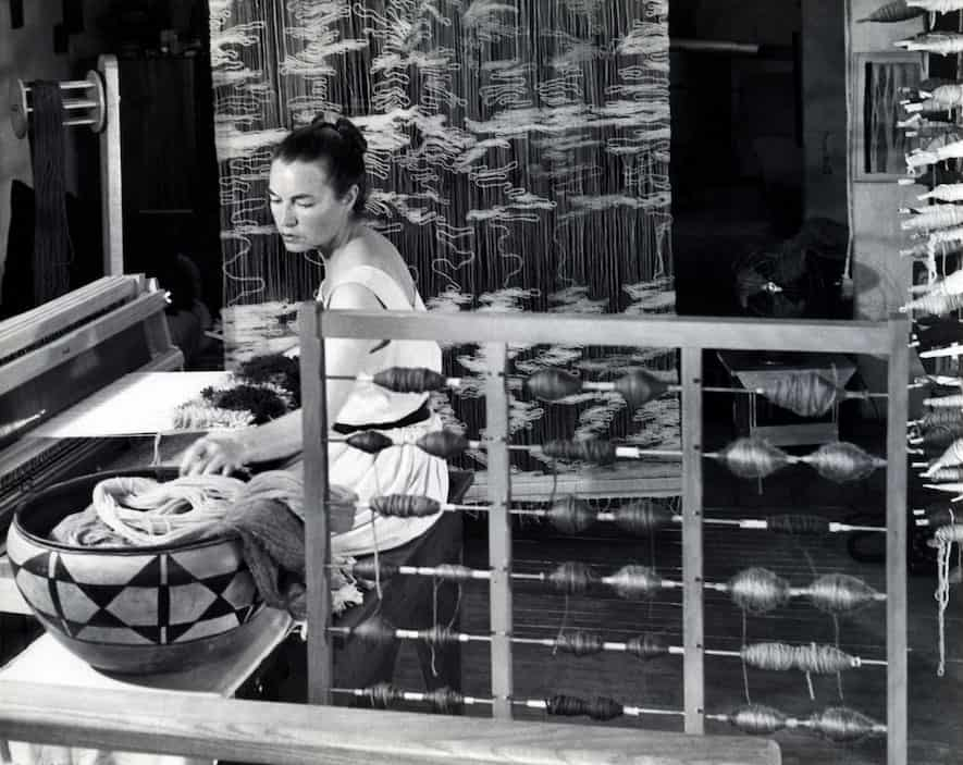 Lenore Tawney in her Coenties Slip, NY, Studio, 1958