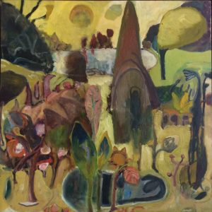 My Back Yard (1991), oil on panel, 12 by 12 inches