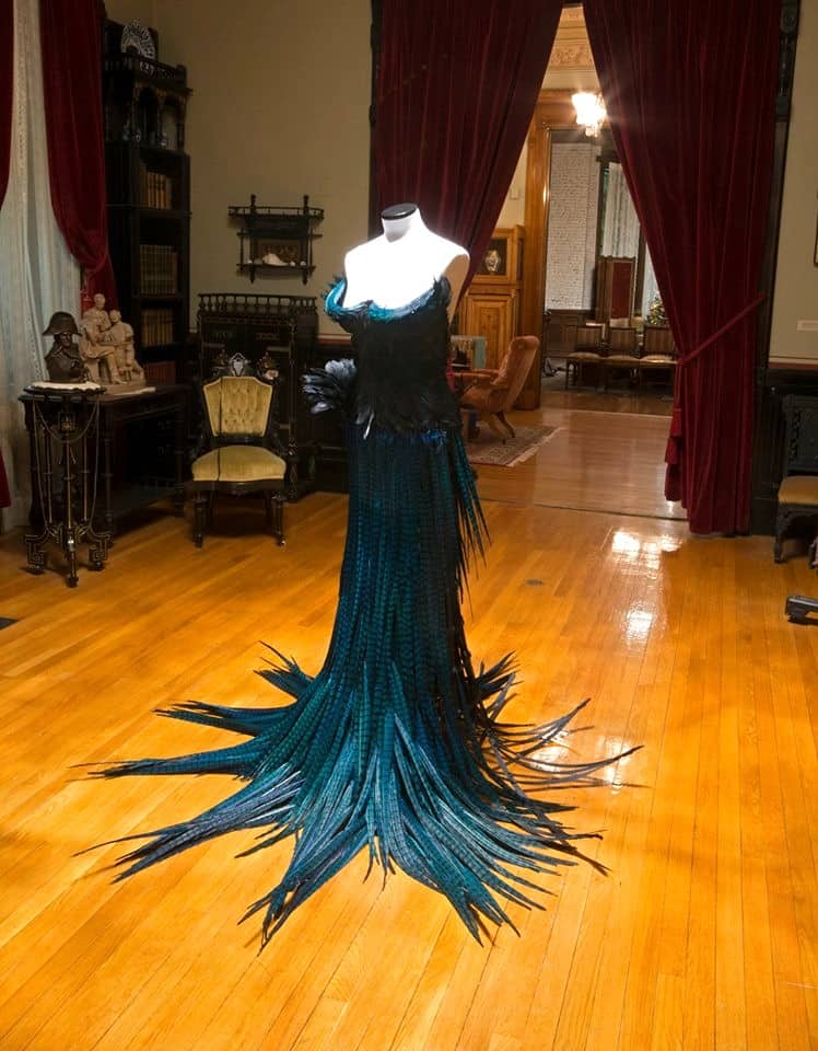 Dancing with Death, pheasant, goose, and duck feathers, 56 inches high