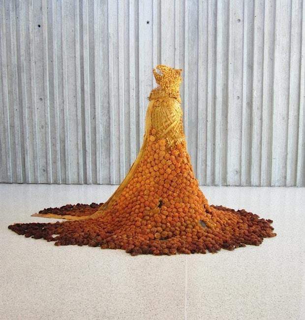The Marigold Gown (2013), tapioca root, cotton, silk, reindeer moss, 5 feet high by 8 feet in diameter