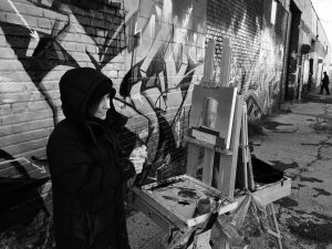 Valeri Larko painting in the Bronx