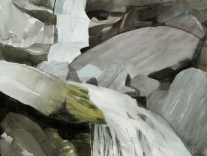 Mariella Bisson, Arc of Falling Water, Field Painting (2010), water color, gouache, and pencil on paper, 12 by 16 inches