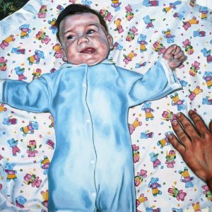 Thanksgiving 1982 (Baby Blanket), 2014. oil on panel, 12 by 12 inches