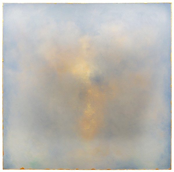 Julie Hedrick, A Rose Mist Rising (2016), oil on canvas with gold acrylic, 48 by 48 inches