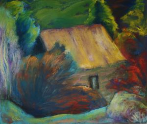 Hide and Seek House (2013-14), pastel on tinted sanded paper, 18 by 21.5 inches