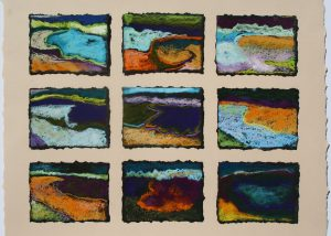 """Water Memories, """"Gridscape"""" series (2010), pastel on paper, outer dimensions 18 by 21 inches."""