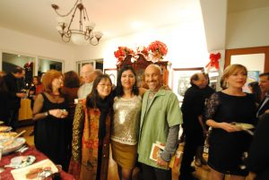Linda Vallejo (center) hosts a soiree for her A list