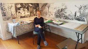 Elisabeth Condon in her studio at Wave Hill