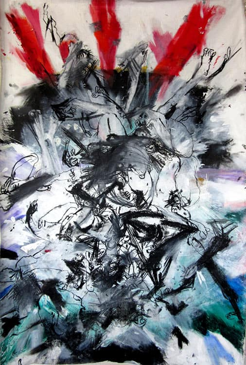 Exploding-Selfie,-73-x-47-inches,-mixed-media-on-canvas