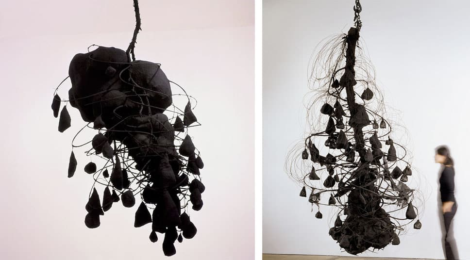 Left: Untitled #633, 1989, © Petah Coyne, Courtesy of Galerie Lelong, New York , Photo by Wit McKay Right: Untitled #638 (Whirlwind), 1989, © Petah Coyne, Courtesy of Galerie Lelong, New York , Photo by Wit McKay