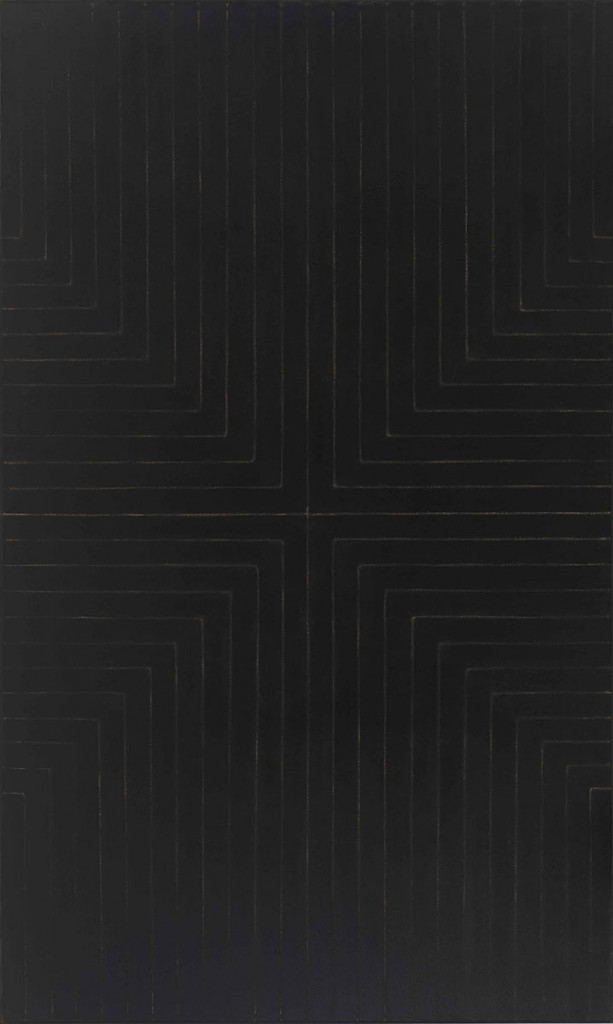 Frank Stella, Die Fahne Hoch! (1959), enamel on canvas, 121-5/8 x 72-13/16 inches, Whitney Museum of American Art © 2015 Frank Stella/Artists Rights Society, New York.
