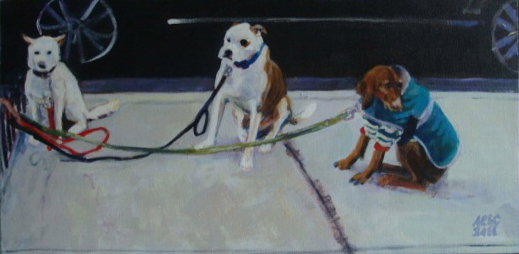 Chelsea Dogs-Homage to Degas acrylic, 12_x 24 inches, 2011