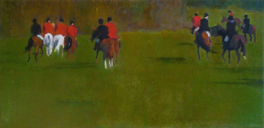 Eleven Headed Uphill- Opening Day Smithtown Hunt _ oil_ 12 x 24_ _ 2012