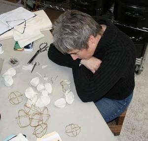 Artist Lorrie Fredette in her studio