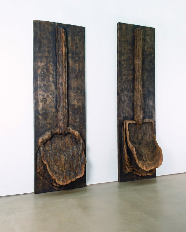 Echo and Sunken Shadow (2011), cedar, graphite.  13 ft. 4 in. by 3 ft. 10 in. by 1 ft. 9 in. (Echo) ; 12 ft. 8 in. x 4 ft. ½ in. x 1 ft. 6 in. (Sunken Shadow).