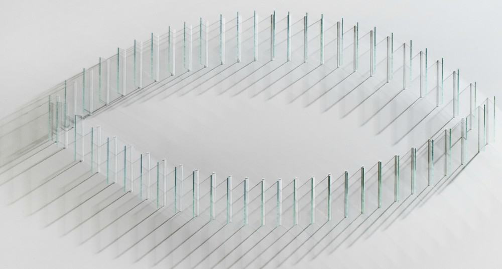 Double Arc (2010), glass on panel, 18 by 18 by 4 inches