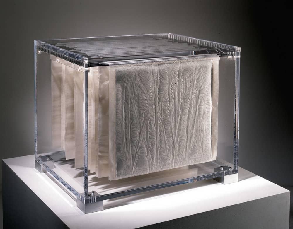 Folio, Leaf Volume II (2005), gampi,steel, acrylic, foil, plants, 25.5 by 19 by 15 inches