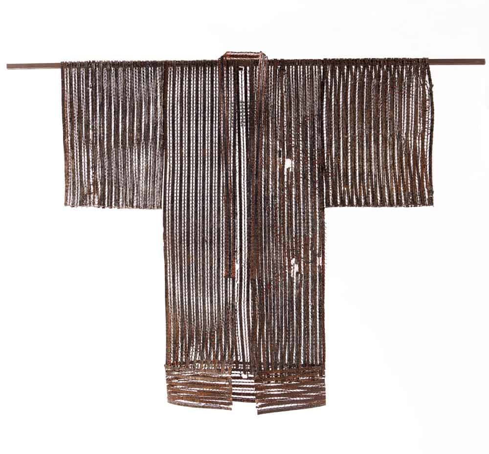 Kimono (2012), steel, plaster, copper,emeralds, coral, 70 by 58 by 6 inches