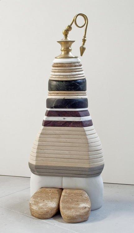 Talisman 11 (2014), marble, limestone, and brass, 39 by 15 by 15