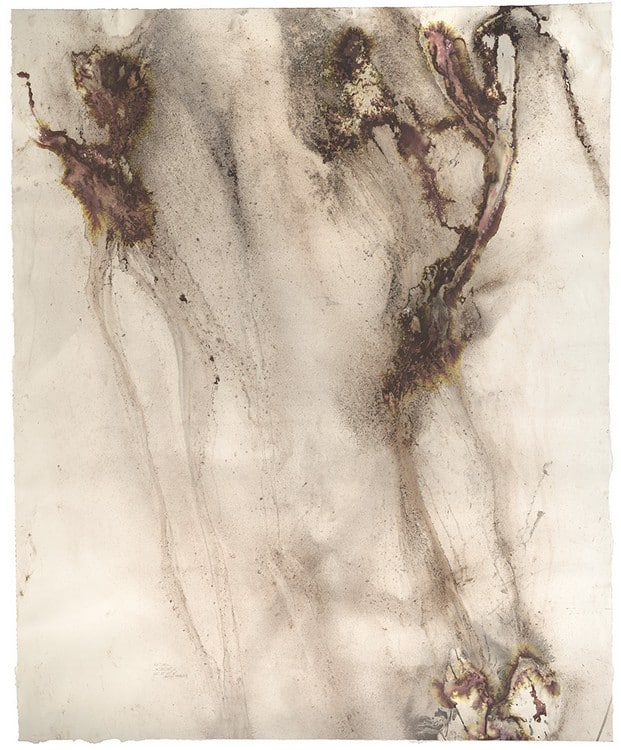 154 degrees SE (2015), dirt, dry pigment, and naturally occurring charcoal driven by rain on paper, 52 by 64 inches.