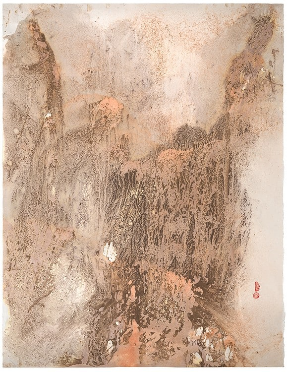 Elegance (2014), dirt and dry pigment, driven by rain/snow on paper, 46 by 60 inches