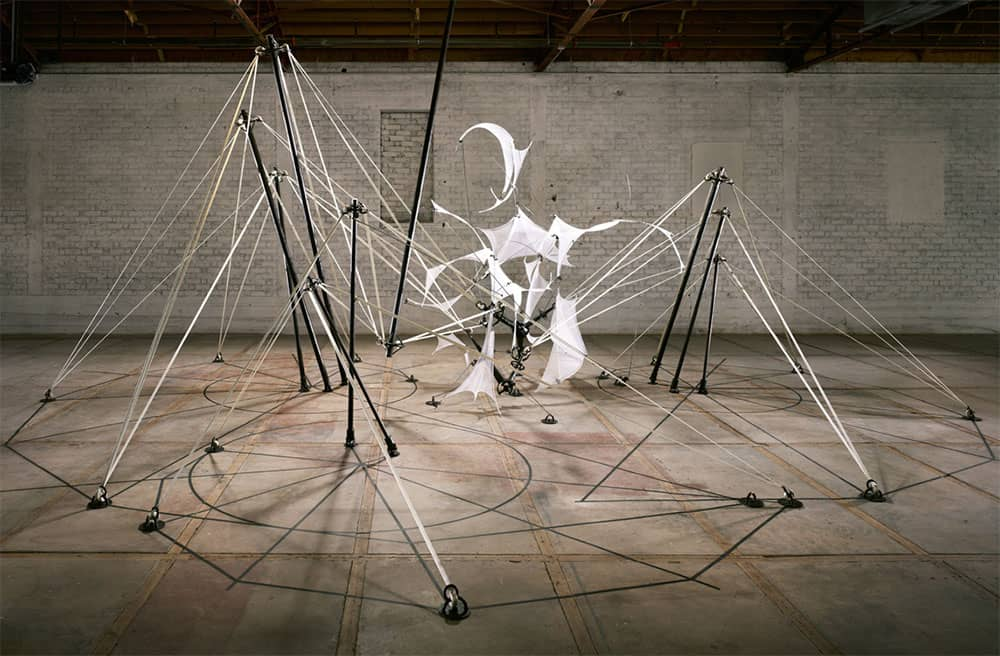 Thanatos (2012), nylon, steel, spandex, 16 by 36 by 24 feet