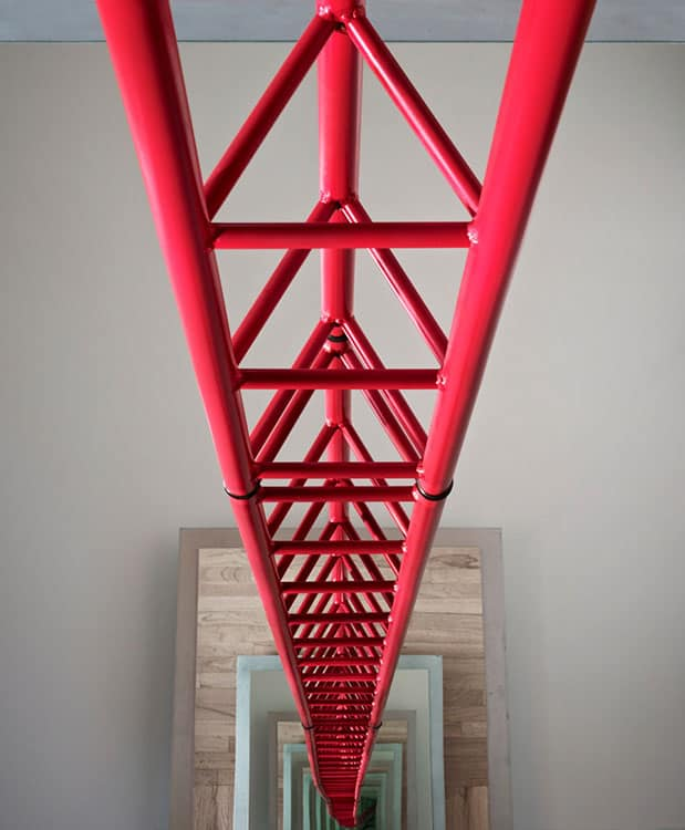 Up Is Down (2015), steel, glass, aluminum, rubber, 96  by 30 by 30 inches