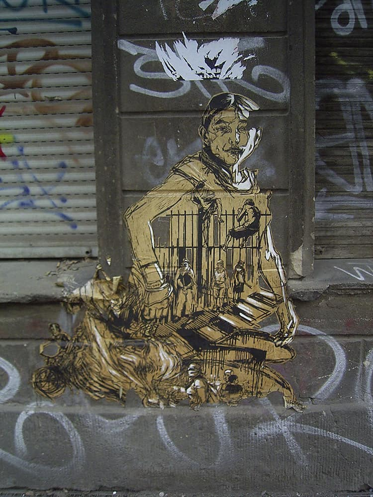 One of Swoon's murals on the Lower East Side of Manhattan