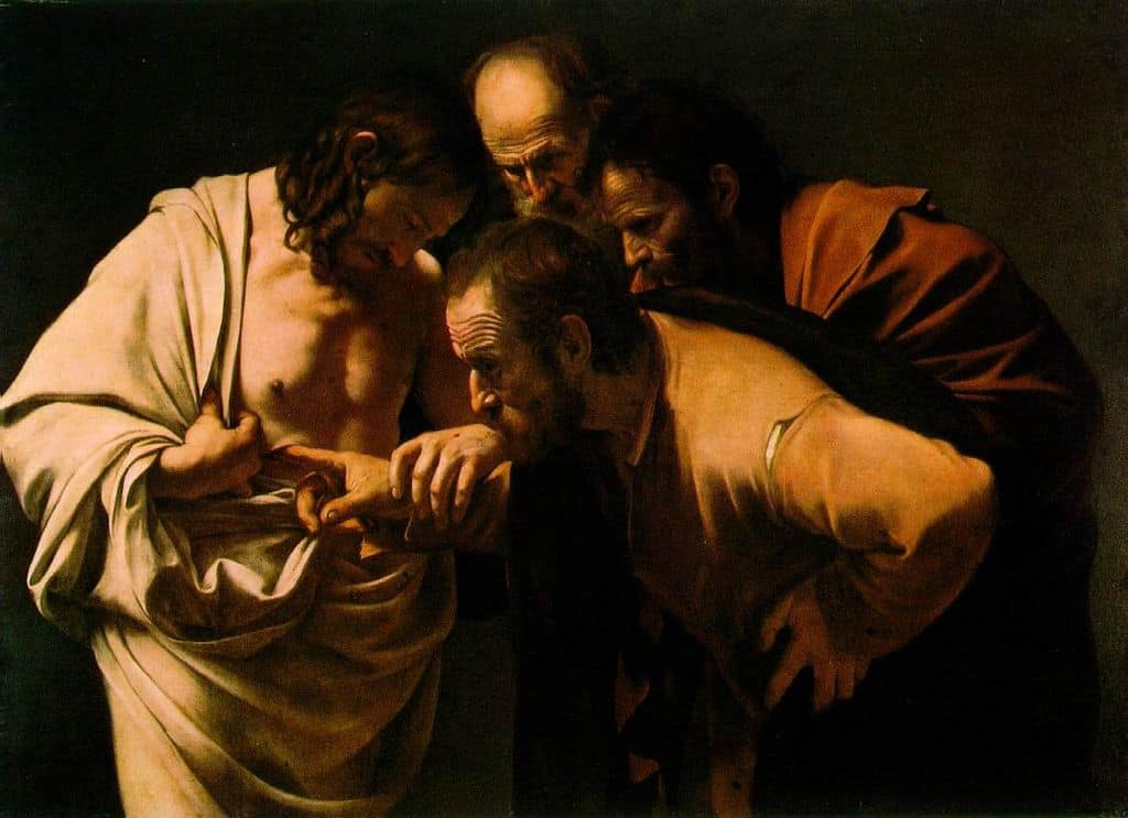 Caravaggio painting, Incredulity of Saint Thomas