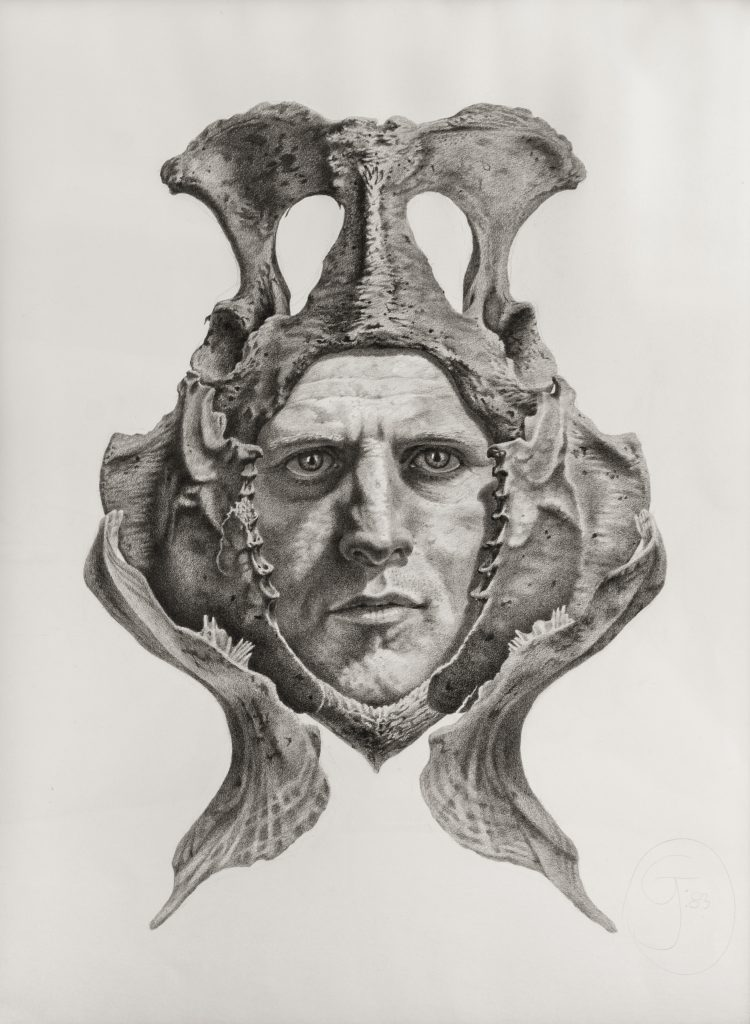 Gendron Jensen's self-portrait with bones.