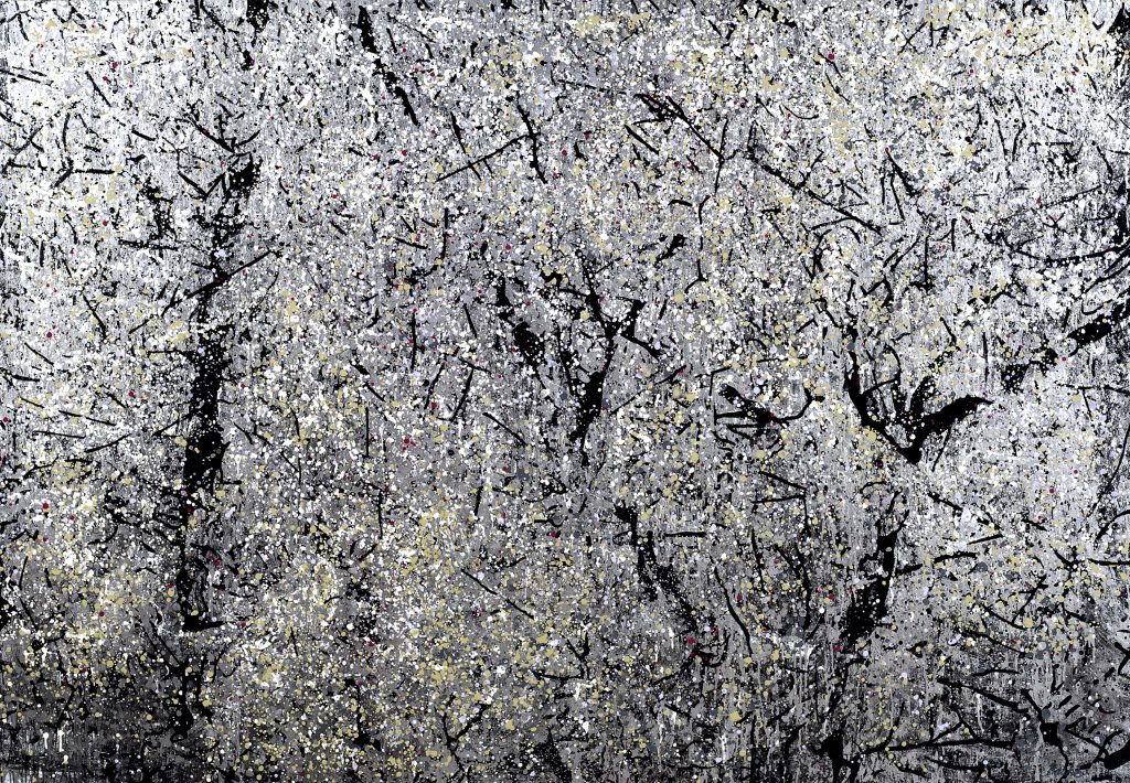 Leslie Parke and her painting Tree in Twilight, oil, enamel and metallic paint on canvas, 67 by 96 inches